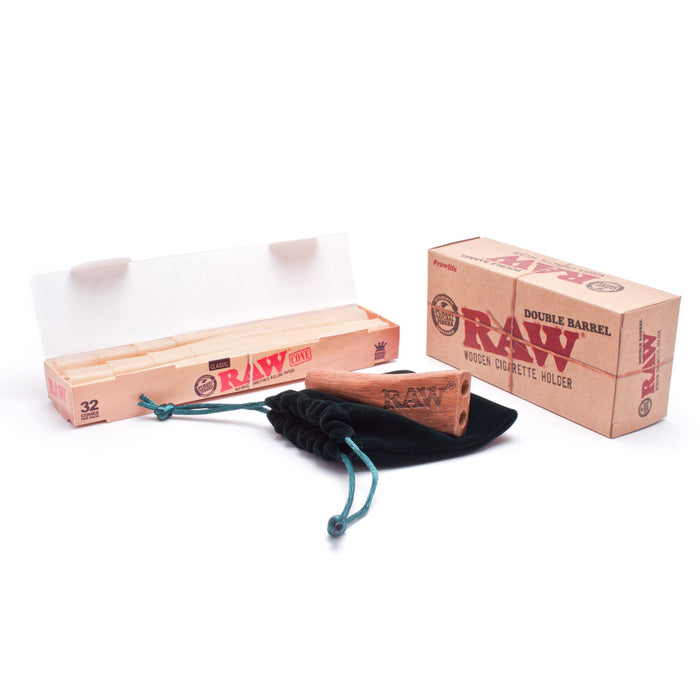 RAW King Size Double Barrel with 32 RAW Cones