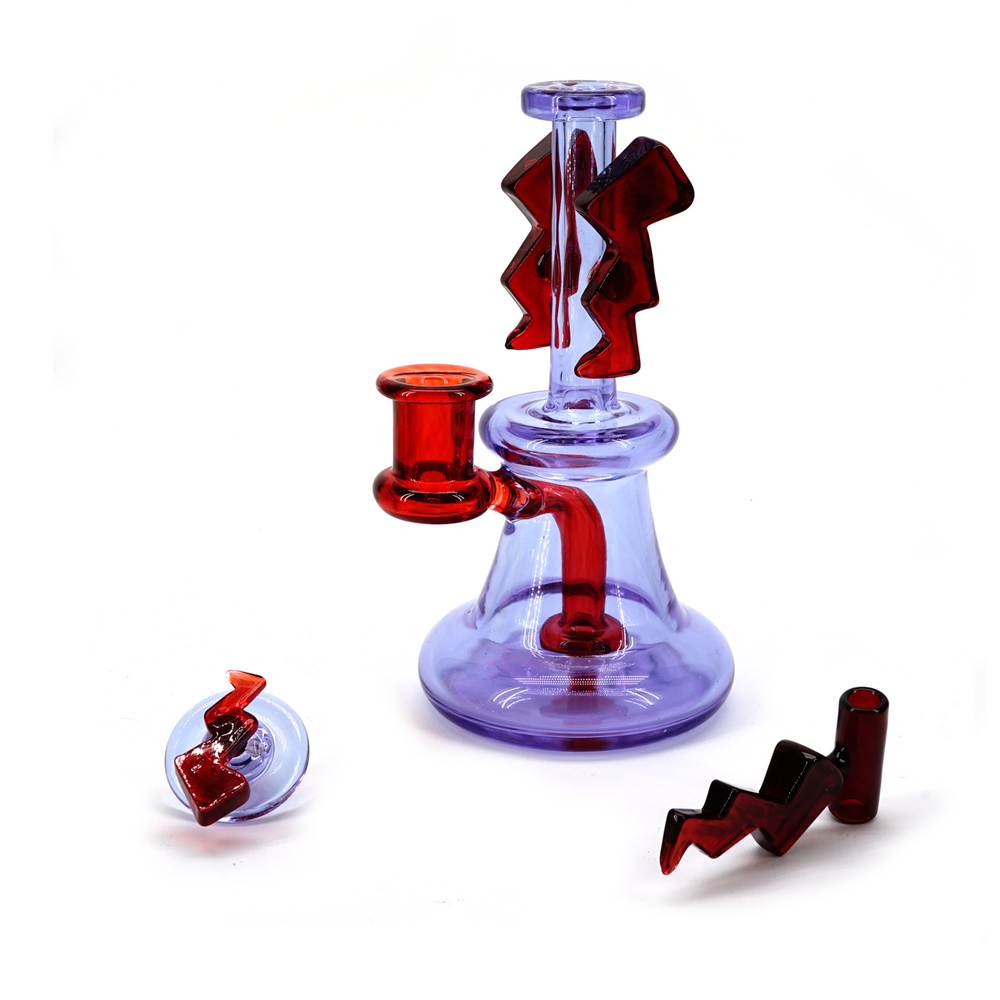Kremlin Glass 10mm Storm Dab Rig - Pomegranate & Exp 19