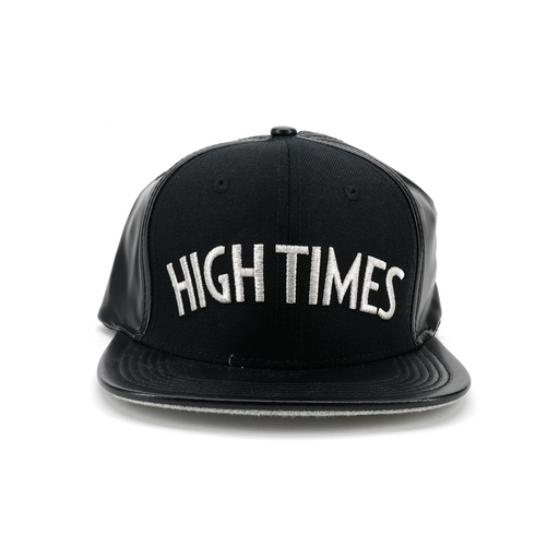 High Times Leather Snapback - Silver