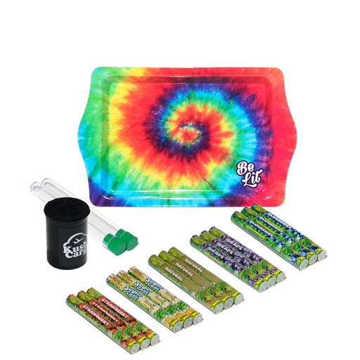 Be Lit Tie Dye Rolling Tray + Hemp Cyclones Bundle