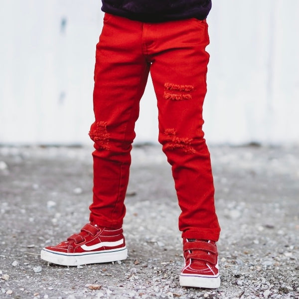 RED KIDS DISTRESSED DENIM | Raxtin clothing co - Love Sick Threads
