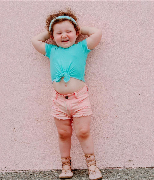 GIRLS BLUSH DENIM SHORTIES | Raxtin Clothing Co - Love Sick Threads