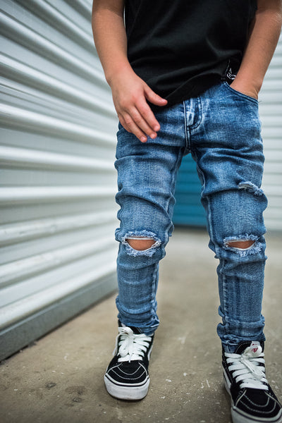 PREORDER KIDS BLUE RAXTIN DISTRESSED DENIM | Raxtin Clothing Co - Love Sick Threads