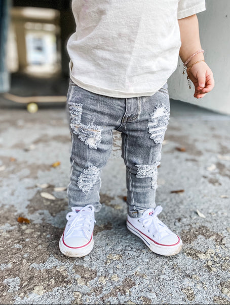 Grey distressed super skinnies | RAXTIN CLOTHING CO - Raxtin Clothing Co