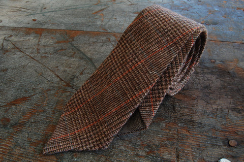 Brown Plaid Wool Neck Tie