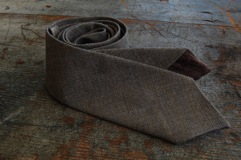 Grey Pinstripe Wool Neck Tie