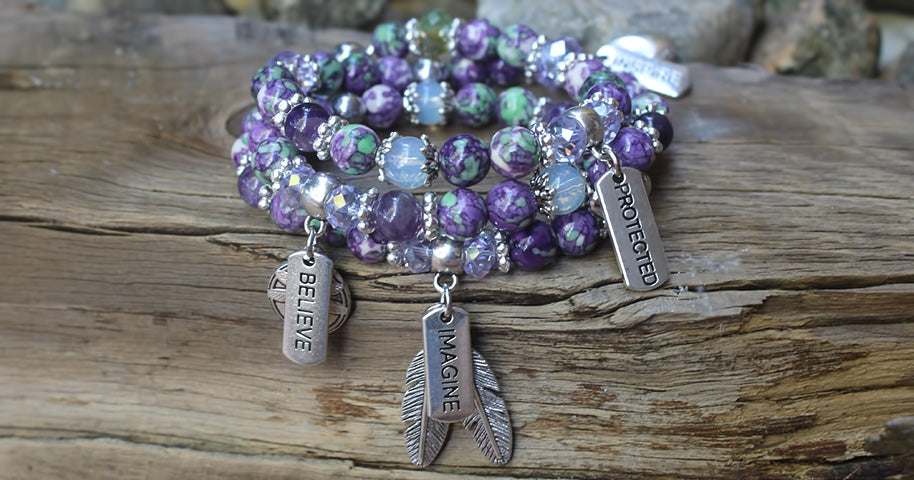 Imagine Purple Rainflower Bracelet