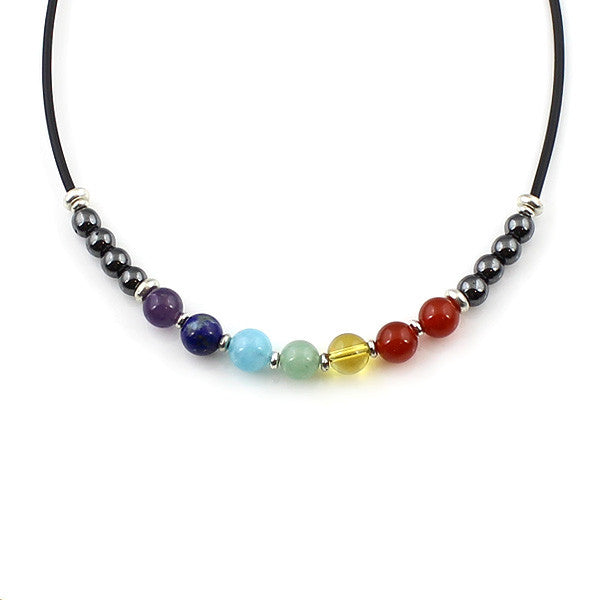 7 Chakra Gemstone Necklace handcrafted with seven chakra gemstones and hematite stones
