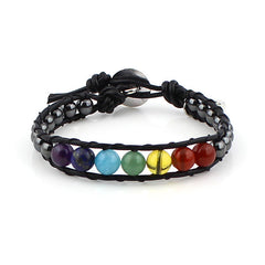 Leather Chakra Wrap Bracelet