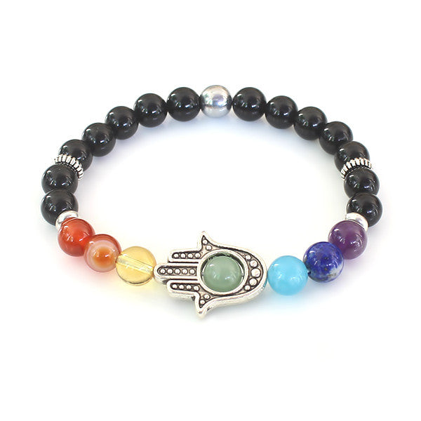 Chakra Hamsa Bracelet handcrafted using 7 chakra gemstones and black obsidian stones with a central focus of the 4th chakra Aventurine Gemstone set within a Hamsa Hand
