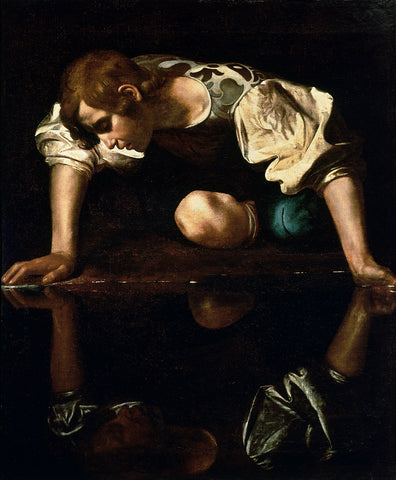 narcissus narcissistic love at first sight, caravaggio