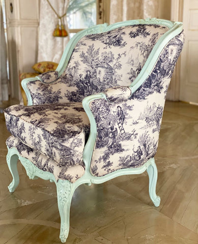 French bergere armchair teal furniture antique Louis XV interiors decor ideas