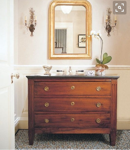 Brown chest of drawers. Classic decor