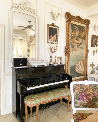 Piano, classic chair, exceptional luxury furniture