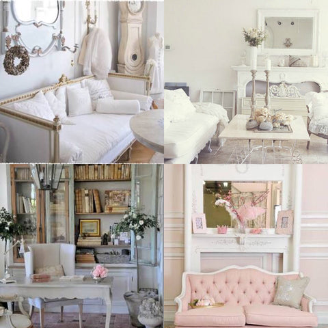 gustation day bed, soft pink french settee and classic study tables