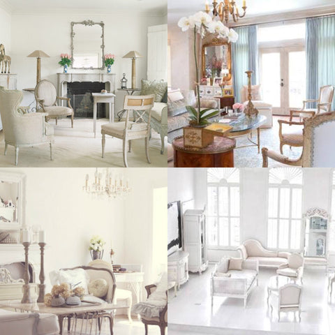 large mirror and big  windows in beautiful rooms with delicate french interiors