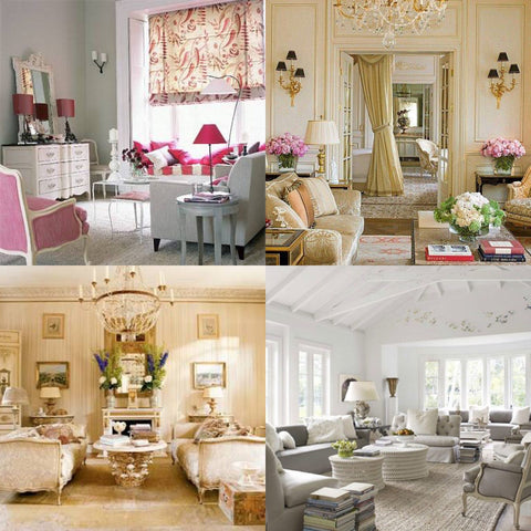 Gorgeous pink upholstery in french classic interiors