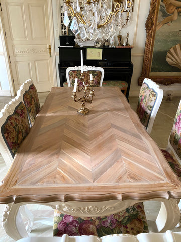parquet top table on french styled table