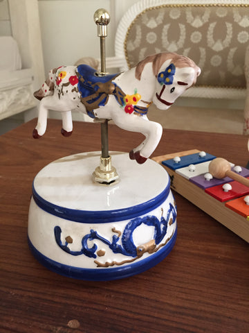 Ceramic vintage musical horse toy