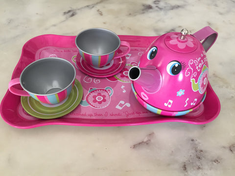 Tin Tea set with cute kettle.