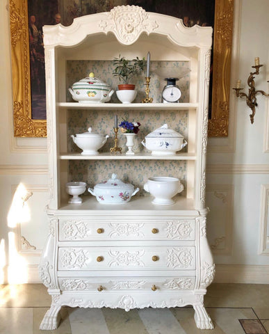 Tureens in a stunning cottage almirah. Chic living, sophisticated decor. India