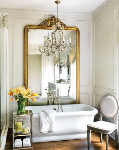 Big mirror in bathroom. Stunning luxury home decor