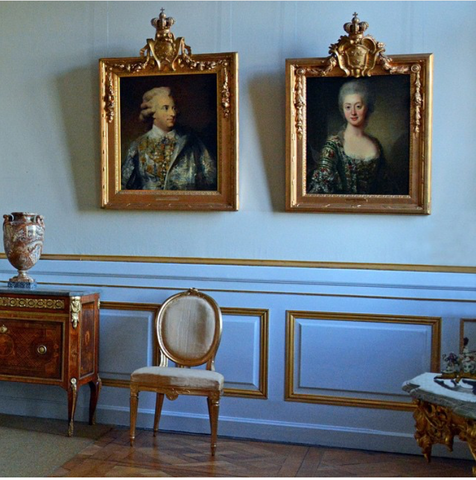 drottingham palace, sweden with very small Gustavian chair.