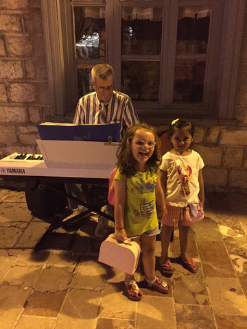 Piano at a small Jazz era town in greece. Travel, vacation, family, travel with children, mediterranean travel