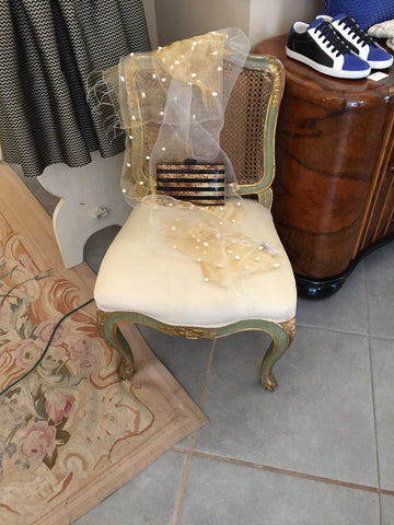 cane upholstered louis xv chair