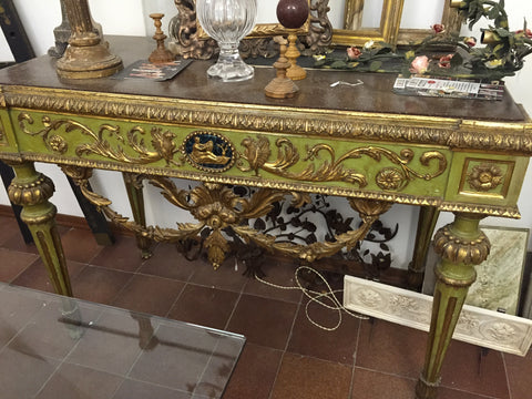 Green Antique french console table neoclassical