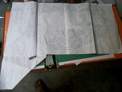 hand drawn blueprint art commode baroque