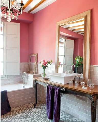 Chic bathroom. Pink warm room with oversized mirror. Big mirror frame. Luxury ideas inspirations home decor