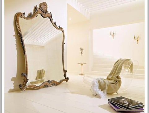 French rococo oversized mirror in classic modern house. Luxury home decor, India