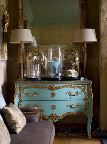 Brass ornament classic french louis xv commode modern teal colour