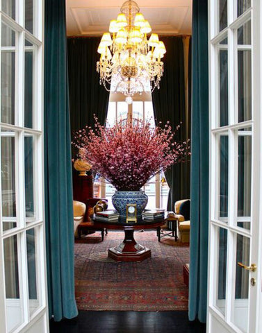 entry foyer. Grand entrance with giant vase. Cherry blossom