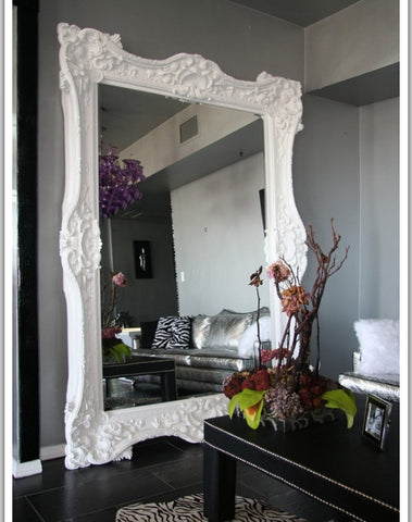 modern home with classic big mirror. baroque style