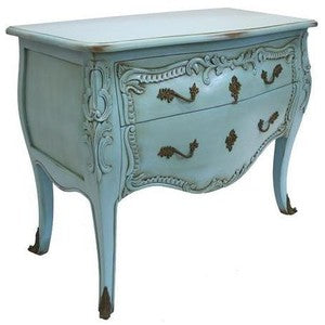teal colored classic french commode