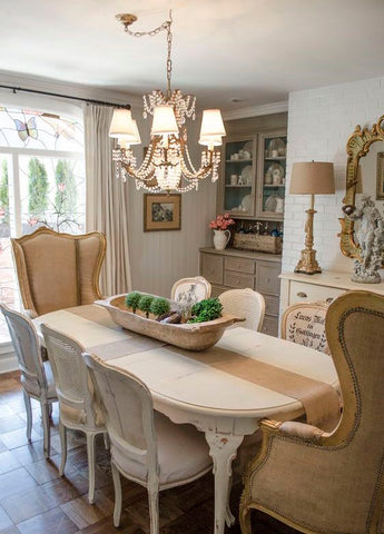 cozy chic dining room. boho chic provencial style. Casual cozy french bohemian style. shabby chic.