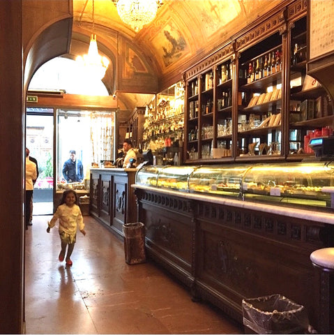 Beautiful pastry shop with classic decor and renaissance frescos