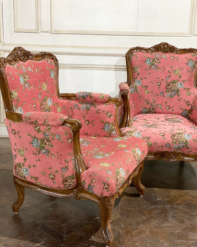 Pair of Canapé / couch of significant Louis XV features, Seating for One