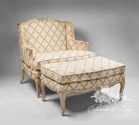 Bergere/couch/sofa and foot stool inspired by Louis XV