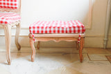 Sleek Louis XV footstool with mulberry wood top and a cotton quilted cushion