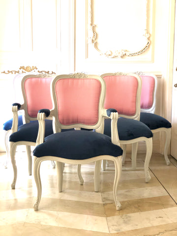 Classic Louis XV dining chair set