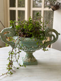Exquisite French urn with deep foliage & carved hardware