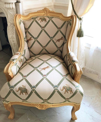 French wing back chair / couch