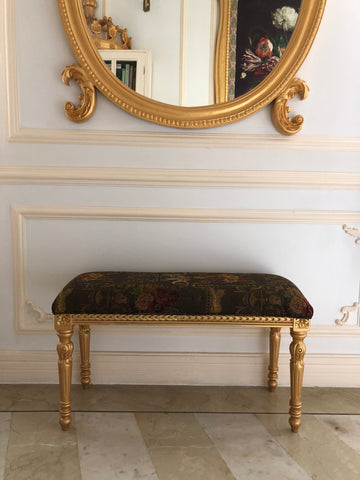Bench with fluted Louis XVI legs