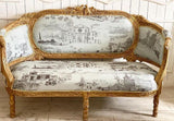 Louis XVI canapé / sofa / couch with birds and foliage