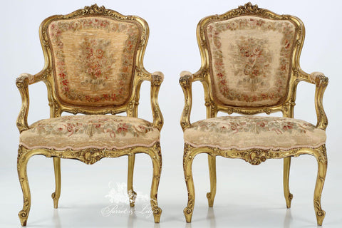 Chair inspired by Louis XV rococo Fauteuil with needlepoint legs, set of two