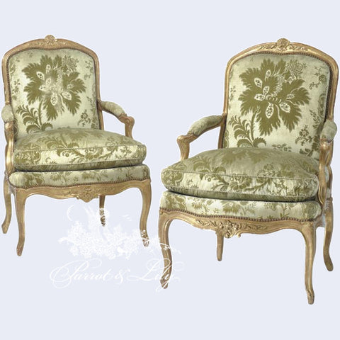 High Quality Chair Inspired By Louis XV, Fauteuil Lofty Couch Proportions Set Of Two
