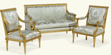 Settee with square silhouette inspired by Louis XVI Era
